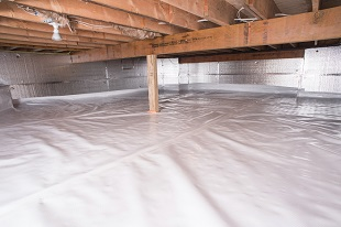 A complete crawl space vapor barrier in Weymouth installed by our contractors